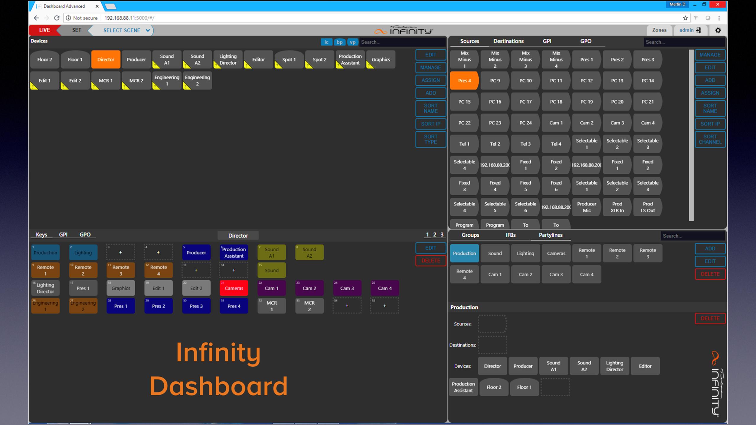 Infinity Dashboard screen